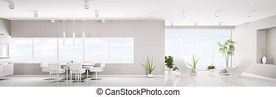 moderne, intérieur, de, blanc, appartement, panorama, 3d, render