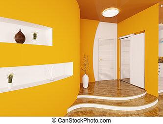 moderne, intérieur, de, hypnotisez couloir, 3d, render