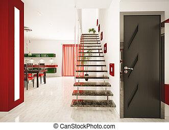 moderne, intérieur, de, salle, 3d, render