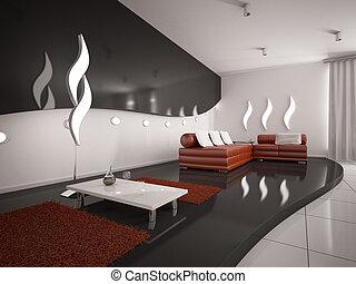 moderne, intérieur, de, salle de séjour, 3d