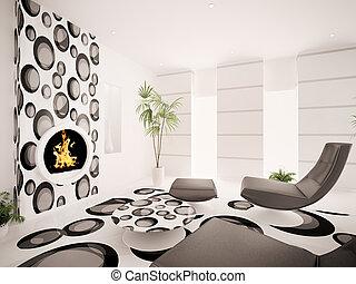 moderne, intérieur, de, salle de séjour, 3d, render