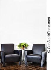 moderne, intérieur, salle, et, mur blanc