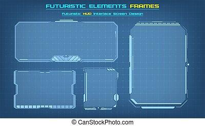 moderne, interface., fi, sci, interface, cadres, set., tableau bord, vecteur, illustration., hud, carrée, blocs, utilisateur, technologie, fond, futuriste