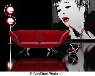 moderne, interieur, in, zwarte en rood