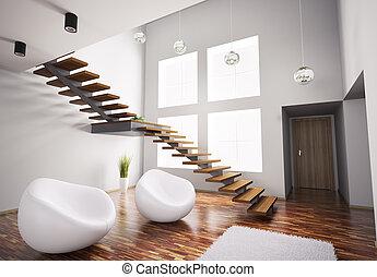 moderne, interieur, met, witte , armstoelen, en, trap, 3d