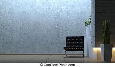moderne, interieur, scène, met, stoel