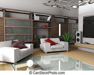moderne, interieur, van, een, flat