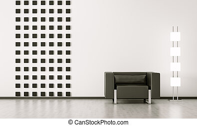 moderne, interieur, van, kamer, 3d, render