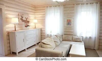 moderne, interieur, woonkamer, openhaard
