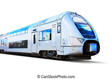 moderne, isolé, élevé, train, blanc, vitesse