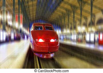 moderne, jeûne, passager, train., mouvement, effet