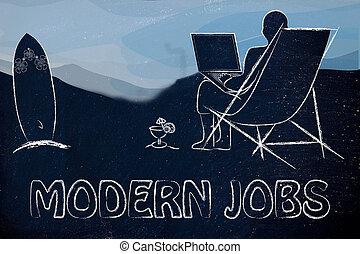 moderne, jobs:, homme, à, sien, ordinateur portable, plage