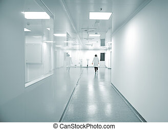 moderne, klar, fabrik, interior, hos, arbejdere, motion
