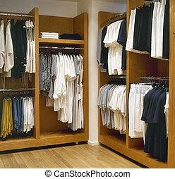 moderne, kleedkamer, met, parketvloer