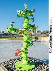 moderne kunst, installatie, met, olie industrie, bies