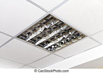moderne, lamp, op, de, plafond, van, de werkkring