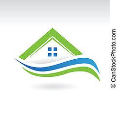 moderne, landgoed, het pictogram van het huis