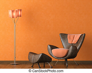 moderne, leder bank, op, sinaasappel, muur