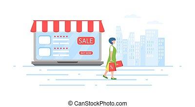 moderne, lejlighed, character., begreb, firma, online, lille, butik, konstruktion, folk