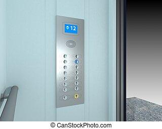 moderne, lift, interieur, en, buitenkant