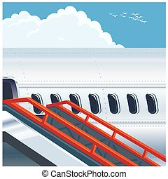 moderne, lijnvliegtuig, straalvliegtuig