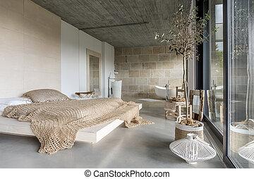 Moderne kunst, luksus, soveværelse. Kunst, cozy, mur,... stock ...