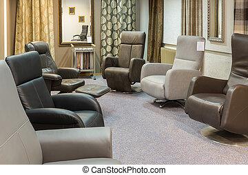 moderne, luxe, armstoelen, toonzaal, winkel, meubel