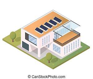 Maison isom trique panneau solaire d taill eps10 for Minecraft 3d blueprint maker