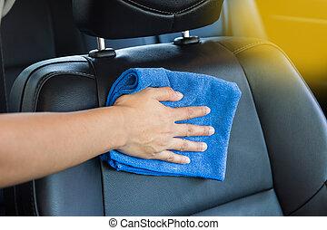 moderne, main, tissu, voiture., nettoyage, intérieur, microfiber