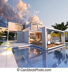 moderne, maison, rêve