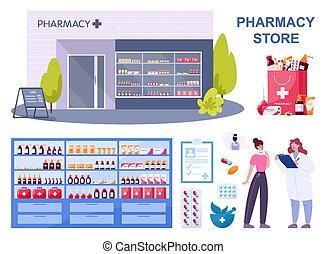 moderne, medicaments, achat, pharmacie, ordre, bâtiment, ...