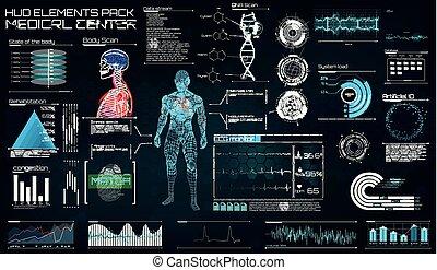 moderne, medisch onderzoek, in, de, stijl, van, hud.
