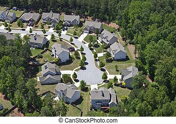 moderne, middenklasse, suburbia, luchtopnames, de oostelijke...