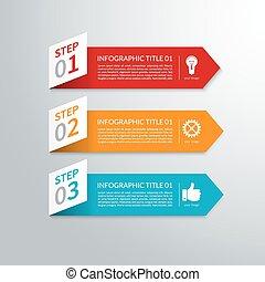 moderne, minimal, flèche, papier, infographic, éléments