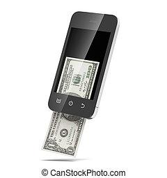 moderne, mobiele telefoon, met, honderd dollars