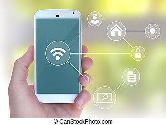 moderne, mobile, wifi, apps, automation, téléphone, connecter, intelligent, main, mâle