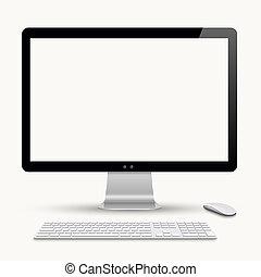 moderne, moniteur, à, clavier, et, souris ordinateur
