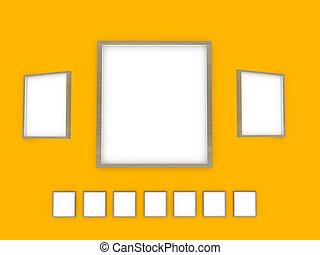 moderne, mur, jaune, conception, intérieur