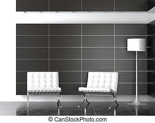 moderne, noir, réception, conception intérieur, blanc