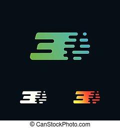 moderne, nombre, formes, 3, vecteur, conception, logo, vitesse