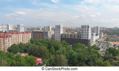 moderne, nouveau, bâtiments, résidentiel
