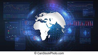 moderne, numérique, bitcoin, globe, transformation., bleu, blockchain., cryptocurrency, technology., électronique, arrière-plan., futuriste, hologramme