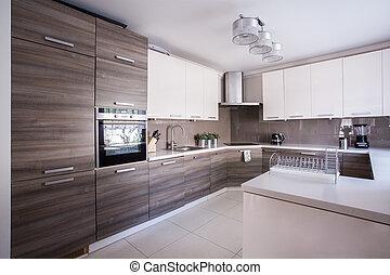 moderne, ontwerp, keuken, gemeubileerd
