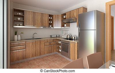 moderne, ontwerp, keuken