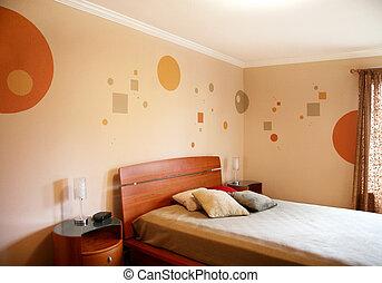 moderne, ontwerp, slaapkamer