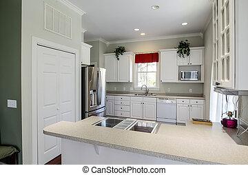 Helder open koelkast keuken eiland helder beige dubbel