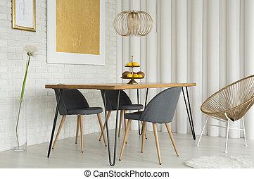 moderne, or, salle manger