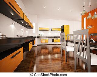 moderne, orange, cuisine, intérieur, 3d, render
