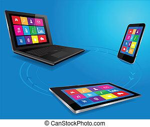 moderne, ordinateur portable, tablette, et, intelligent, téléphone
