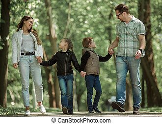 moderne, parc, famille, promenade